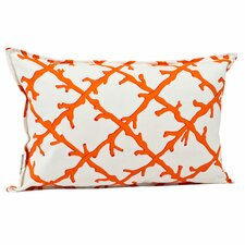 Coral Lattice Cotton Canvas Pillow
