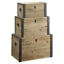 3 Piece Trunk Set in Natural Wood