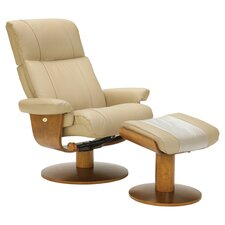 Leather Recliner & Ottoman in Khaki