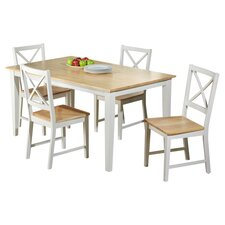 Crossback 5 Piece Dining Set in White & Natural