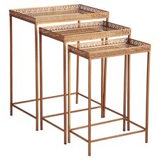 Meyer 3 Piece Nesting Table Set in Brass