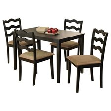 Riviera 5 Piece Dining Set in Black