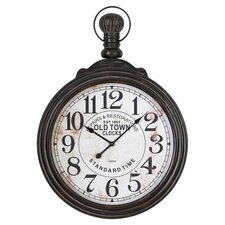 Pocket Watch Style Wall Clock in Distressed Black