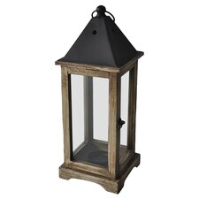 Glass & Metal Lantern in Distressed Brown