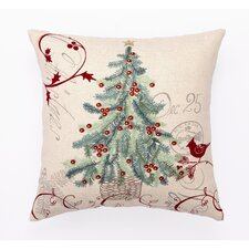 Embroidered Christmas Tree Pillow in Ivory