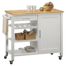 Calgary Butcher Block Top Kitchen Cart in White