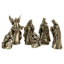 6 Piece Metallic Glory Nativity Set in Silver