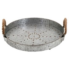 Galvanized Rope Tray in Silver