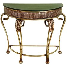 Toscana Metal Demilune Console Table in Brown