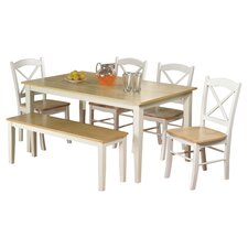 Tiffany 6 Piece Dining Set in White & Natural