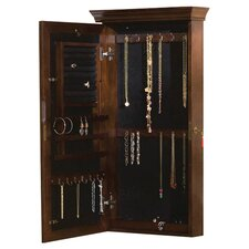 Franklin Wall Mount Mirrored Jewelry Armoire in Rich Espresso