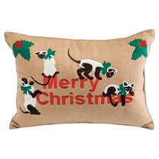Holiday Siamese Cats Applique Pillow in Tan