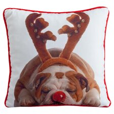 Holiday Bulldog Pillow in White