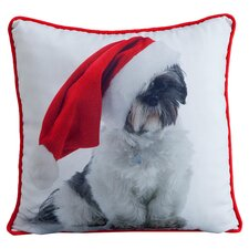 Holiday Shitzu Pillow in White