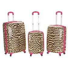Vision Leopard Print 3 Piece Luggage Set in Brown & Pink