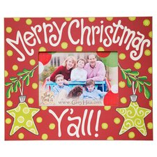 Merry Christmas Y'all with Stars Picture Frame