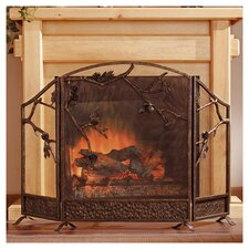 Pinecone Cast Iron Fireplace Screen in Antique Bronze