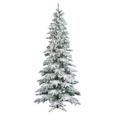 Flocked Utica Fir Pre-Lit Clear 7.5' Christmas Tree in White