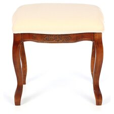 Cushioned Top Vanity Stool in Pale Yellow & Oak