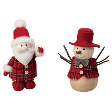 2 Piece Santa and Hal Snowman Holiday Accents Set