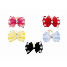 Five Pairs of Gingham Sheer Rhinestone Dog Hairbows on Elastic Grooming Bands