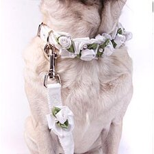 White Ribbon Dog Collar with Petal Flower Rosettes with Pearls
