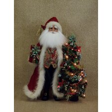 Crakewood Lighted Santa Claus Figurine with Tree