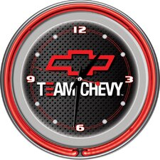 "Team Chevy Racing 14"" Neon Clock"