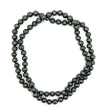 36 Inches Hematite Bead Knotted Necklace