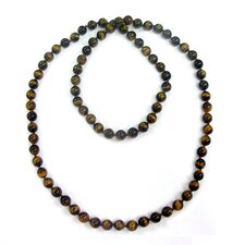 36 Inches Tiger's Eye Knotted Necklace