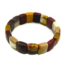 Square Mookite Bead Stretch Bracelet