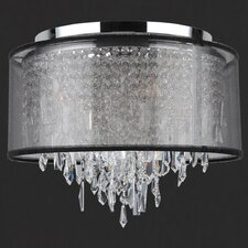 Tempest 5 Light Flush Mount with Black Organza Shade