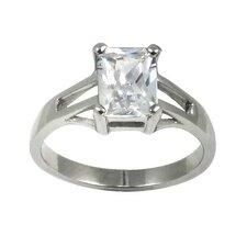 Emerald Cut Cubic Zirconia Solitaire Engagement Ring