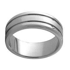 Wide Band Ring with Lined Edge