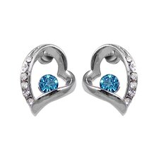 Overlay Crystal Heart Stud Earrings