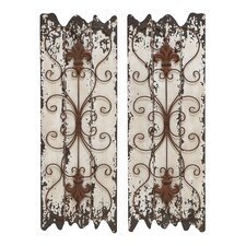 Elegant Wood and Metal Wall Sculpture (Set of 2)