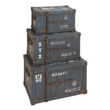 Classic Old Time Wood Trunk (Set 3)