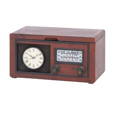 Radio Attached Wood Cabinet Clock