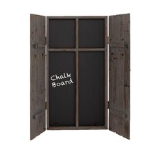 Wood Blackboard Wall Cabinet with Hooks and Latches