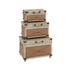 3 Piece Old Rustic Wood Trunk Set