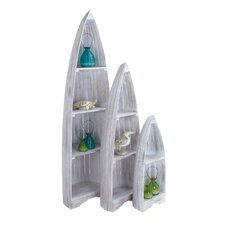 3 Piece Wooden Boat-Shaped Shelf Set