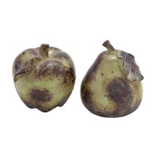 2 Piece Ceramic Pear and Apple Décor Set