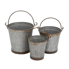 3 Piece Metal Galvanized Bucket Set