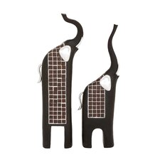 2 Piece Trumpeting Elephants Décor Set