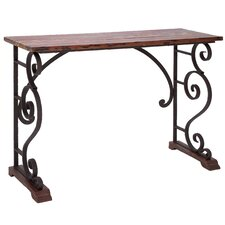 Vintage Cabinet Metal Wood Console Table