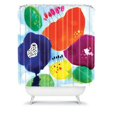 Cayena Blanca Big Flowers Polyester Shower Curtain