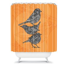 Valentina Ramos Polyester 3 Little Birds Shower Curtain