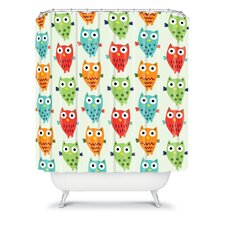 Andi Bird Woven Polyester Owl Fun Shower Curtain