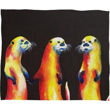 Clara Nilles Flaming Otters Polyester Fleece Throw Blanket