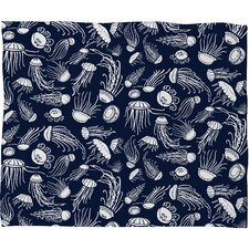 Jennifer Denty Jellyfish Polyester Fleece Throw Blanket